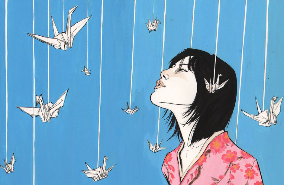 Portrait of Sadako Sasaki - a young girl who became the symbol of the innocent lives lost in the bombings of Nagasaki and Hiroshima and to the brutalities of World War II.  Artwork by Joëlle Jones.